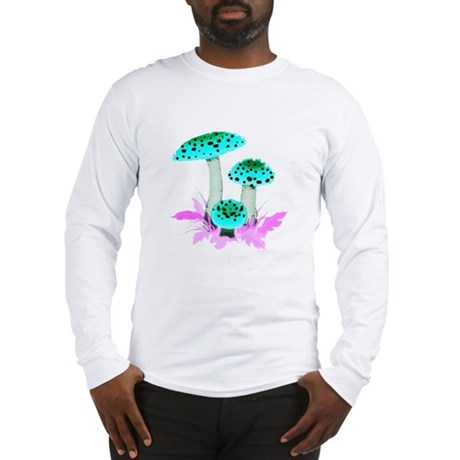 Teal Mushrooms Long Sleeve T-Shirt