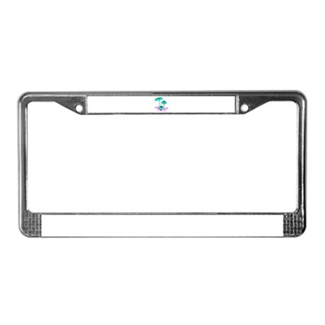 Teal Mushrooms License Plate Frame