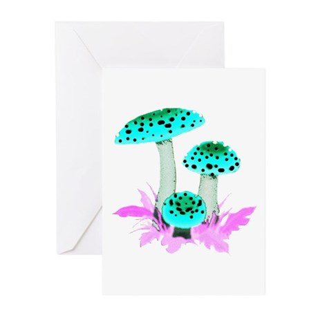 Teal Mushrooms Greeting Cards (Pk of 10)