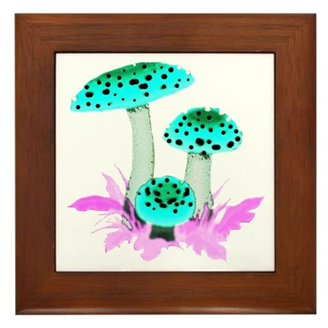 Teal Mushrooms Framed Tile