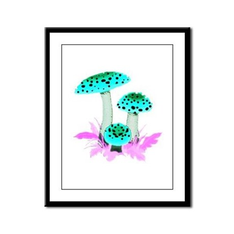 Teal Mushrooms Framed Panel Print