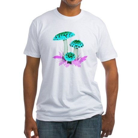 Teal Mushrooms Fitted T-Shirt