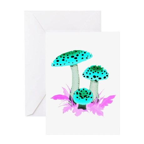 Teal Mushrooms Greeting Card