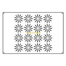 Black White Retro Floral Pattern Banner
