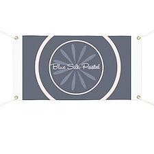 Blue Silk Flower Pastel Lavender Cream Banner
