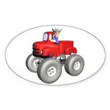 Red Monster Truck Oval Decal