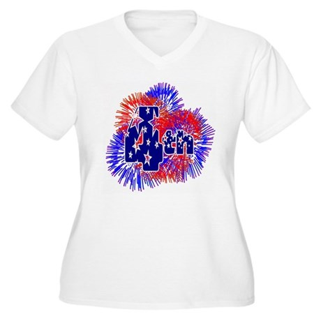 Fourth of July Women's Plus Size V-Neck T-Shirt