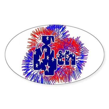 Fourth of July Oval Sticker
