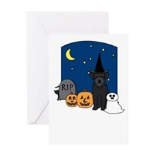 Schnauzer Halloween Greeting Card