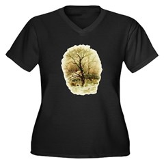 Winter Scene Women's Plus Size V-Neck Dark T-Shirt