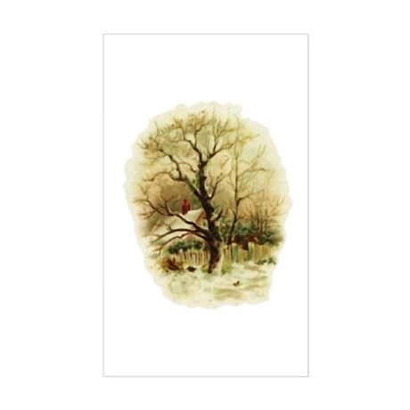 Winter Scene Rectangle Sticker