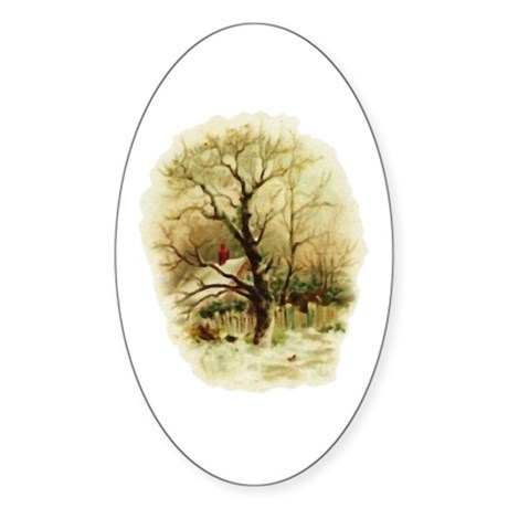 Winter Scene Oval Sticker