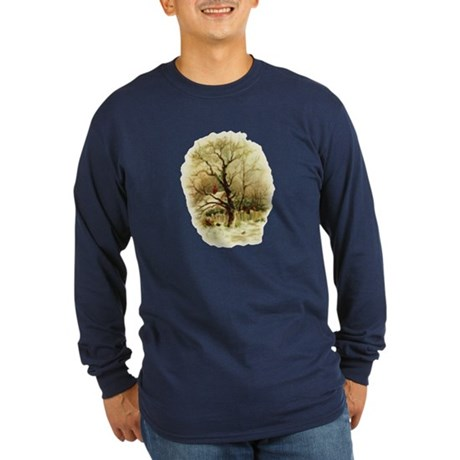 Winter Scene Long Sleeve Dark T-Shirt