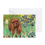 Irises & Ruby Cavalier Greeting Cards (Pk of 20)