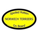 Spoiled Norwich Terriers On Board Oval Decal