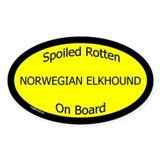 Spoiled Norwegian Elkhound On Board Oval Decal
