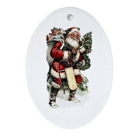 Vintage Santa Oval Ornament