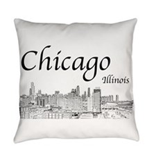 Chicago on White Everyday Pillow