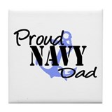 Proud Navy Dad - Blue Anchor Tile Coaster