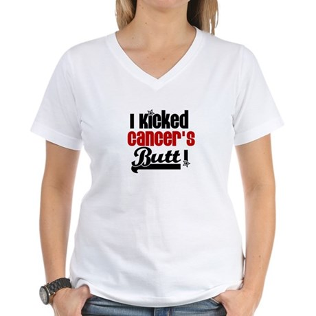 Kicked Cancer's Butt Women's V-Neck T-Shirt