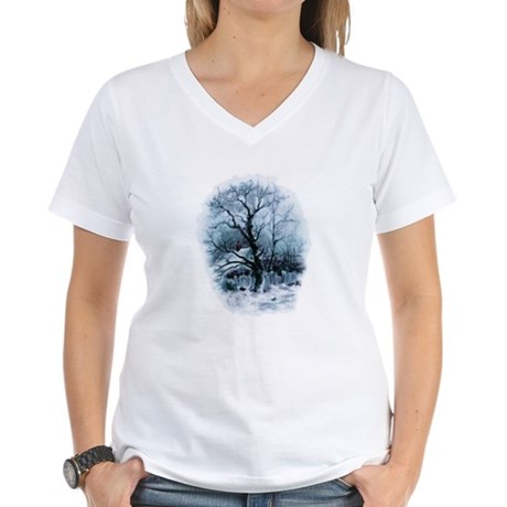 Winter Snowscene Women's V-Neck T-Shirt