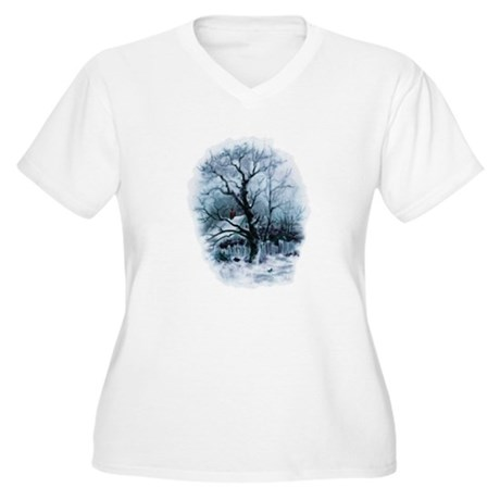 Winter Snowscene Women's Plus Size V-Neck T-Shirt