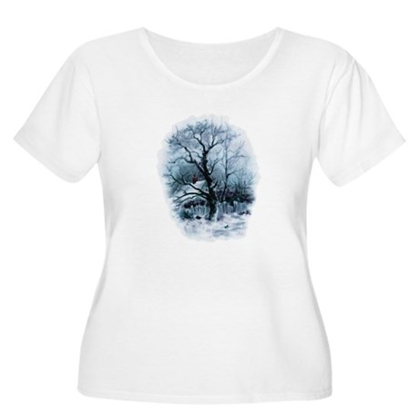 Winter Snowscene Women's Plus Size Scoop Neck T-Sh