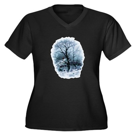 Winter Snowscene Women's Plus Size V-Neck Dark T-S