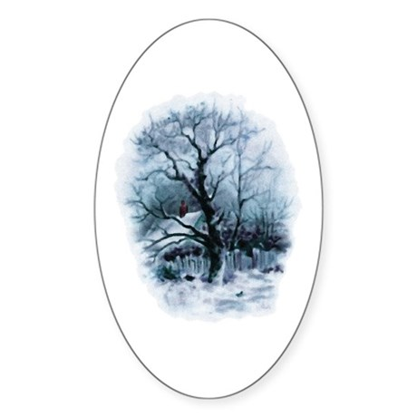 Winter Snowscene Oval Sticker