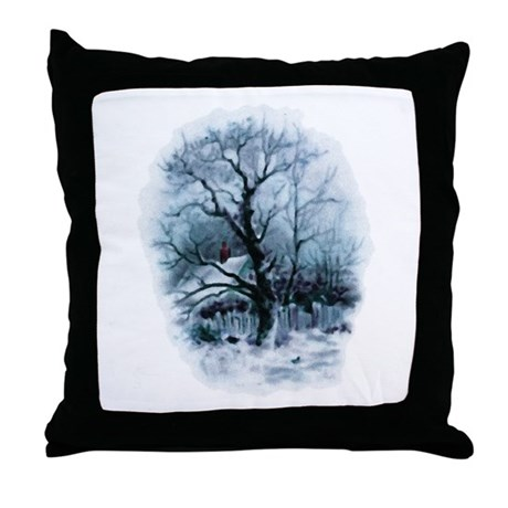 Winter Snowscene Throw Pillow
