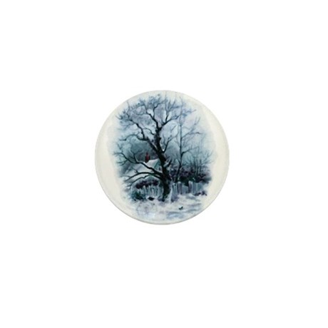 Winter Snowscene Mini Button