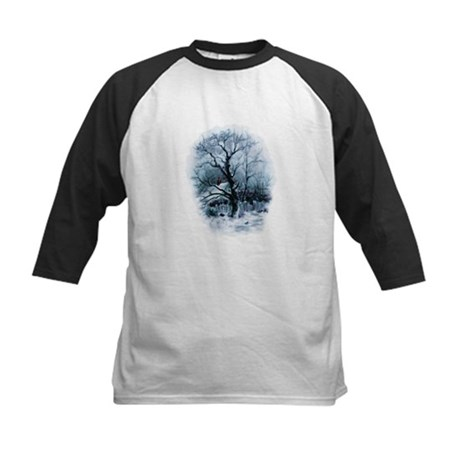 Winter Snowscene Kids Baseball Jersey