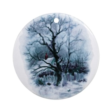 Winter Snowscene Ornament (Round)
