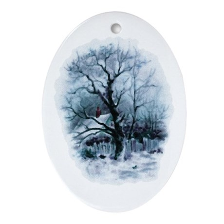 Winter Snowscene Oval Ornament
