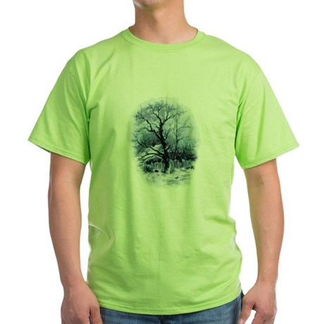Winter Snowscene Green T-Shirt