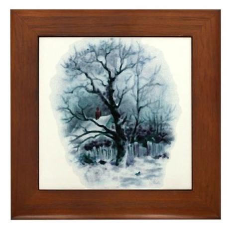 Winter Snowscene Framed Tile