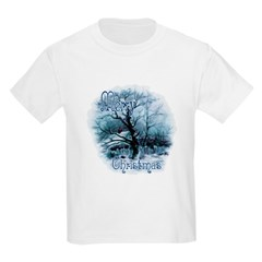 Christmas Snow Scene Kids Light T-Shirt