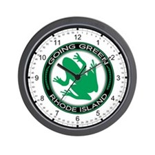 Going Green Rhode Island (Frog) Wall Clock