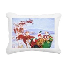 Santa with the sleigh Rectangular Canvas Pillow