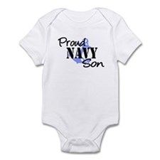 Proud Navy Son - Blue Anchor Infant Bodysuit