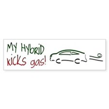 Hybrid Car Kicks Gas Bumper Bumper Sticker