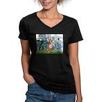 Lilies & Chihuahua Women's V-Neck Dark T-Shirt