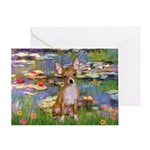 Lilies (2) & Chihuahua Greeting Card