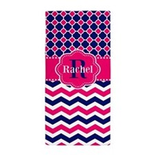 Navy Pink Chevron Personalized Beach Towel