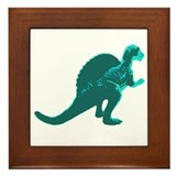 Retro Aqua Spinosaurus Framed Tile