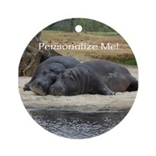 Hippos in Love Personalized Photo Round Ornament