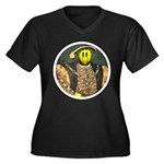 Smiley VIII Women's Plus Size V-Neck Dark T-Shirt