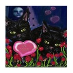 BLACK CAT VALENTINE Tile Coaster
