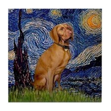 Starry Night & Vizsla Tile Coaster
