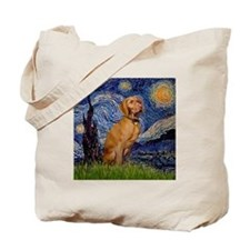 Starry Night & Vizsla Tote Bag